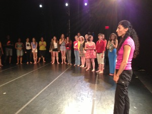 Nejla leads the young dancers in an improvisation during her Show and Tell at Schaeffer Theater.