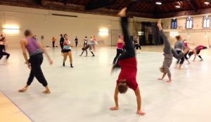 Going upside down in Kathleen Hermesdorf's modern class.