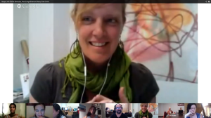 Nora Zuniga-Shaw discusses dance documentation with Bertha Bermudez, Nancy Stark Smith and lab participants in a google+ hangout