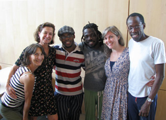 Africa Consortium partners and artists gathered at Bates in 2009 from left to right: Cathy Zimmerman (MAPP), Laura Faure (Bates), Qudus Onikeku (Nigeria), Michel Kouakou (Ivory Coast), Emily Harney (MAPP), and Opiyo Okach (Kenya)