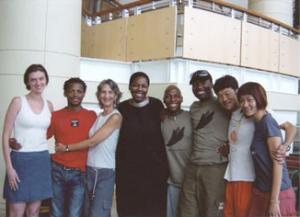 Africa Consortium partners and artists from left to right: Jordana Phokompe, Faustin Linyekula, Cathy Zimmerman, Baraka Sele, Vincent Sekwati Mantsoe, Gregory Maqoma, Kota Yamazaki and Mina Nishimura