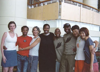 Africa Consortium partners and artists from left to right: Jordana Phokompe, Faustin Linyekula, Cathy Zimmerman, Baraka Sele, Vincent Sekwati Mantsoe, Gregory Maqoma, Kota Yamazaki and Mina Nishimura
