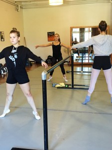Jill focusing during barre in Martha Tornay's ballet class