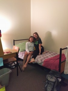 Jill and Clare in their dorm room in Rand Hall